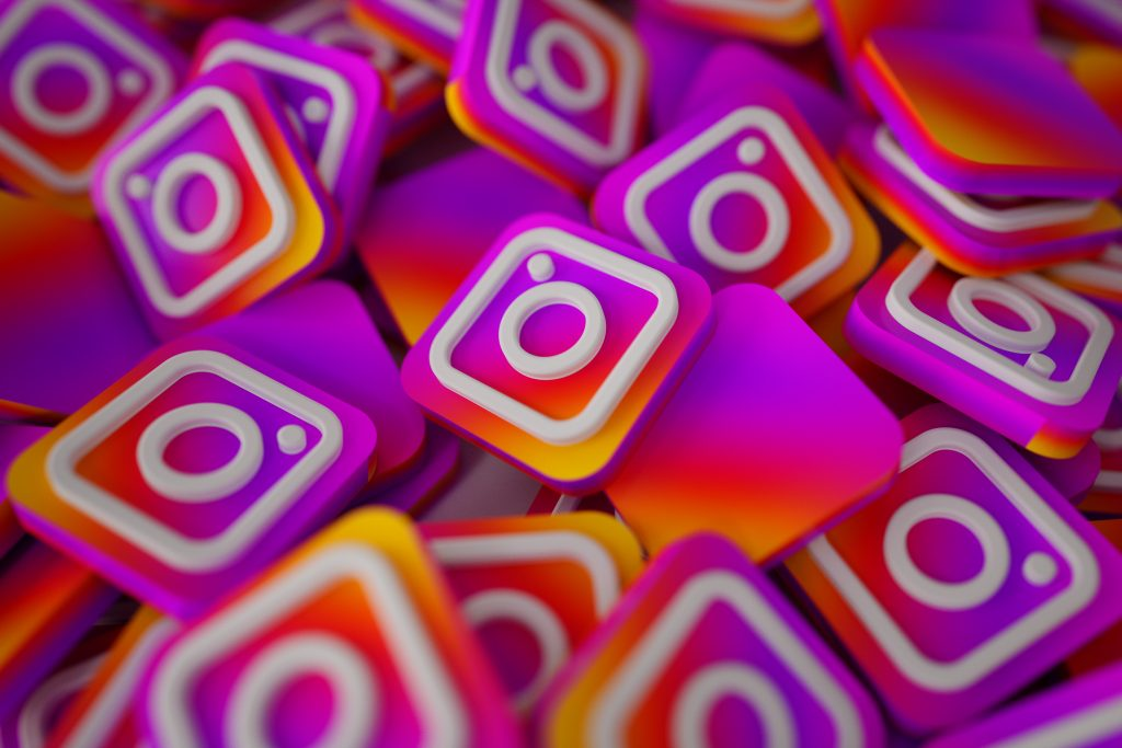 Pile of 3D Instagram Logos